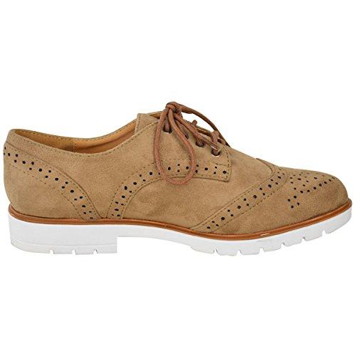 Femmes Dames Plat Chaussures Richelieu Escarpins Talon Haut À Lacets Travail École Office Flâneuses Chaussures Taille Marron Moka Faux Daim / Blanc Semelle