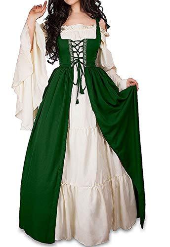 WENROU Damen Renaissance Mittelalter Irisches Kostüm über Kleid und reines weißes Chemise-Set - Mehrfarbig - X-Large -