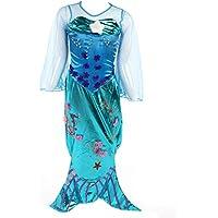 Traje de sirena con falda larga, mangas, cola y aletas de pescado - disfraz de Ariel para fiestas de verano color turquesa - para niñas de 8-9 años