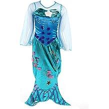 Katara 1777 - Traje de sirena para niñas con falda larga, mangas de tul, cola y aletas de pescado - disfraz de Ariel - ideal para fiestas en la picina o cumpleaños - Color Turquesa - 8 -9 años