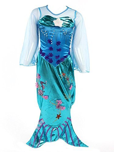 Katara 1777 Meerjungfrauen Kostüm, Glitzer-Verkleidung zum Karneval mit bodenlangem Rock, Faschings-Anzug mit Fischschwanz und Flossen, Tüll-Ärmel wie Arielle, Barbie aus Comic und Zeichentrick, Blau/Türkis, 122 (Etikett 130) (Mermaid Schwanz Halloween Kostüme)