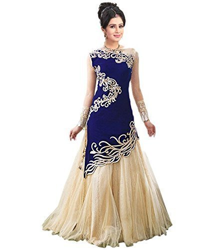 Fresh@Fashion Women\'s Semi Stitched Georgette 2 Piece Gown (fs1010) (Blue & Cream) (Free Size)