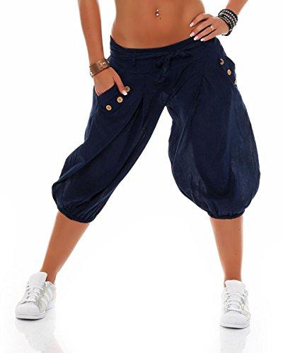 malito court Harem pantalon avec Ceinture Boyfriend Baggy culotte bouffante Aladin Yoga 3416 Femme Taille Unique (bleu foncé)