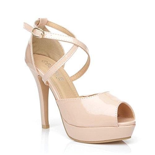 ShuWish UK Cross Blush Nude Patent PU Leather High Heels Platform Peep Toe Sandals Size UK 6 EU 39