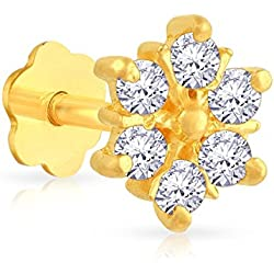 Malabar Gold and Diamonds 22k (916) Yellow Gold and Cubic Zirconia Nose Pin