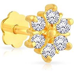 Malabar Gold and Diamonds 22k (916) Yellow Gold and Cubic Zirconia Nose Pin