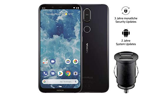 Nokia 8.1 Smartphone (15,69 cm (6,18 Zoll) Full Hd+ Display, 64 GB interner Speicher, Android 9 Pie, Dual Sim, inkl. 12 V KFZ Adapter) blau Nokia Smartphone