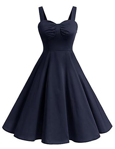 Dresstells® Shoulder Straps 1950s Retro Audrey Swing Pinup Rockabilly Dress Pleated Skirt Navy L