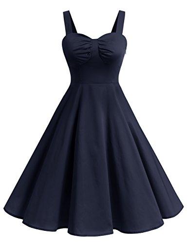 Dresstells Schultergurt 1950er Retro Schwingen Pinup Rockabilly Kleid Faltenrock Navy (Kostüme Pin Navy Up)