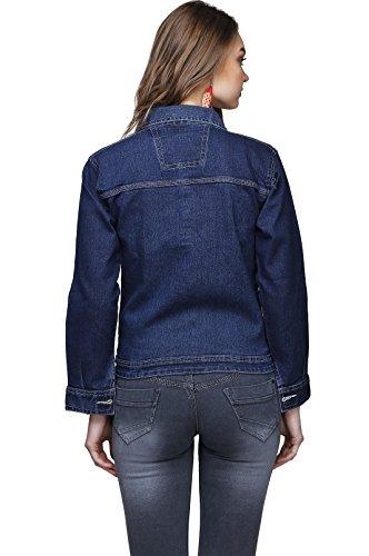 Ganga Women's Denim Jacket (DBLU8001_Blue_L)