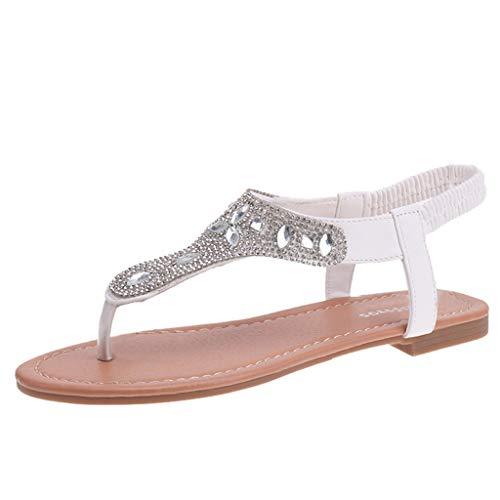 LILICAT✈✈ Sandalias Mujeres Moda Verano Plano Talla Grande Sandalias Bohemias Plataformas Sandalias Estilo Romano pedrería Sandalias de Las Mujeres del Dedo del pie cómodas Sandalias