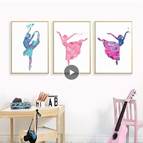 XWArtpic Aquarell Ballett Mädchen Wandkunst Bilder Leinwand Gemälde Nordic Poster Print für Kinder Schlafzimmer Wohnkultur 40 * 50 cm