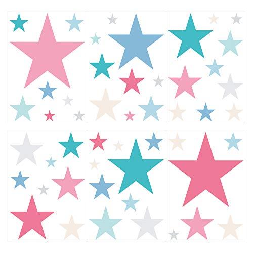 I-love-Wandtattoo WAS-10443 Kinderzimmer Wandsticker Set Sterne mit bunten Mädchenfarben in Pastell 50 Stück Sternenhimmel zum Kleben Wandtattoo Wandaufkleber Sticker Wanddeko
