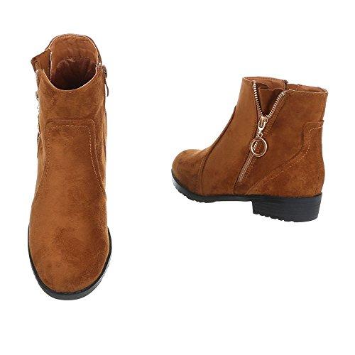 Ital-Design Chelsea Boots Damenschuhe Chelsea Boots Blockabsatz Blockabsatz Reißverschluss Stiefeletten Camel L2651-