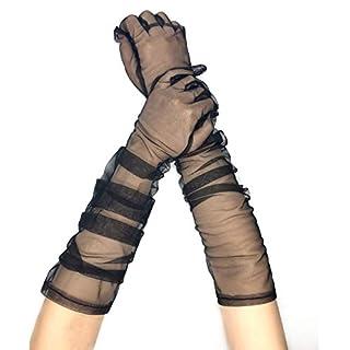 PANAX Edle extra lange Damen Handschuhe in Schwarz aus feinem und elastischem Netzstoff - Stulpen in Einheitsgröße für Frauen, Hochzeit, Oper, Ball, Fasching, Karneval, Tanzen, Halloween...