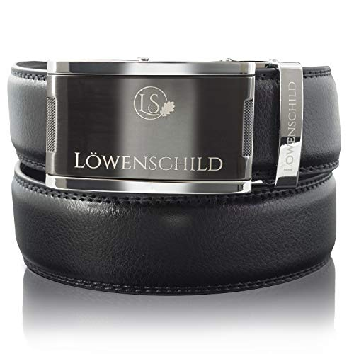Löwenschild Leder Gürtel für Herren und Damen in schwarz mit Automatik Schnalle in verschiedenen Längen 115cm 120cm 125cm (Variante 3, 120)