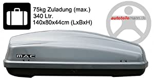 Modula Dachbox Ciao 340 Autobox silber glänzend