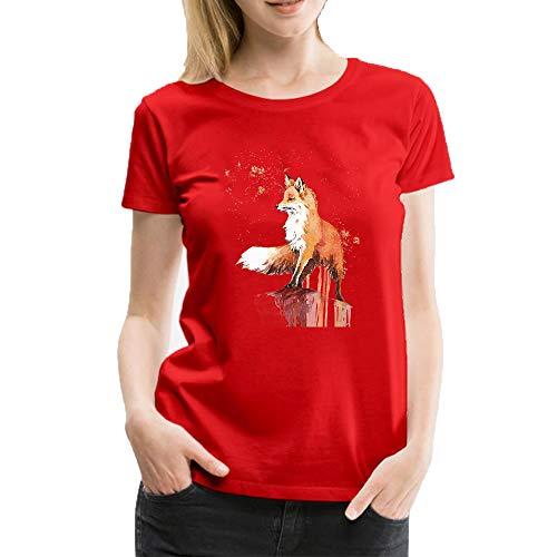 T shirt donna manica corta cute animal orange-red fox stampa casual moda top girocollo estiva maglia donna felpe collo rotondo, manica corta, donna rosso xl