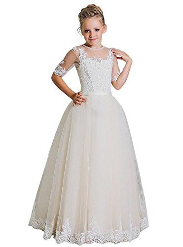 Cinderella Benutzerdefinierte Kostüme (CLLA dress Mädchen Blumenmädchen Kleider Mit Ärmeln Festlich Hochzeits Kleid Prinzessin Brautjungfern Partykleider Festzug(Elfenbein,3-4)