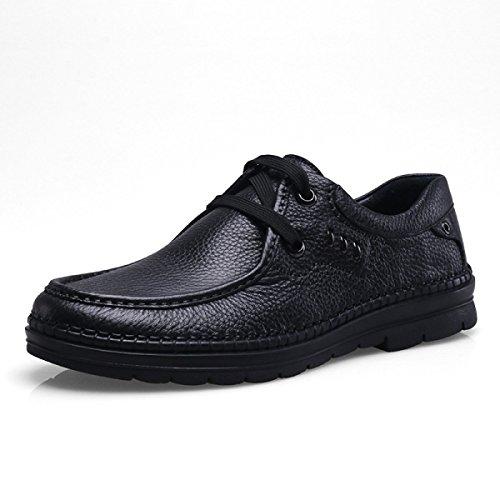 GRRONG Chaussures En Cuir Pour Homme En Cuir De Vache Loisirs Affaires Respirant Noir Marron Black