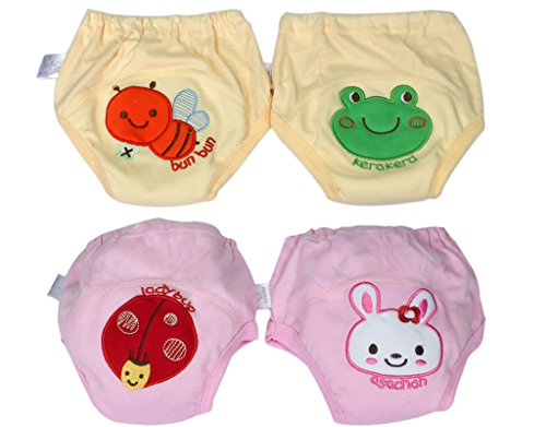 BONAMART 2 Stück Baby Junge Mädchen Kids Trainerhosen Unterwäsche 80 90 95 100 cm, 4 Einheiten Rosa Gelb, 100CM
