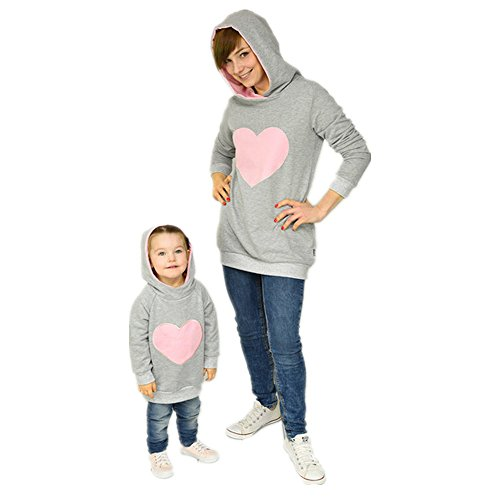 Mama und Tochter Mädchen Damen Hoodie Kapuzenpullover Niedlich Love Herz Muster Bekleidung Loveso Family Kleidung Hooded Pullover Kapuzenpulli (Tochter (Rosa), 4T) (Schwarz-check-fleece-jacke)