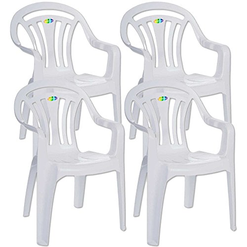 5f6b278e6bf7 CrazyGadget® Plastic Garden Low Back Chair Stackable Patio Outdoor Party  Seat Chairs Picnic White Pack of 4 (X4)