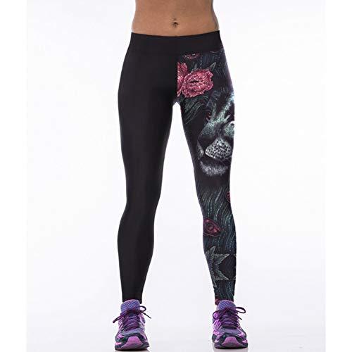 GJDHFJN Tiger Head 3D Impreso Negro Leggings de Cintura Alta Spandex Push Up Workout Legging Fitness Pantalones Mujeres Punk Leggins Mujer Ropa