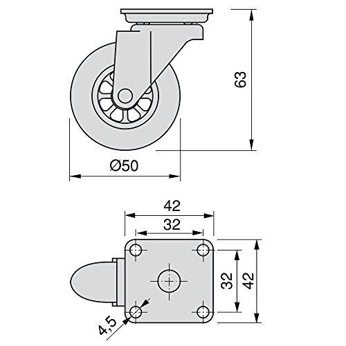 41Gq6C60u2L - EMUCA - Lote de 4 Ruedas pivotantes para Mueble Ø50mm con Placa de Montaje y rodamiento de Bolas, Ruedas de Goma para Muebles Color Transparente