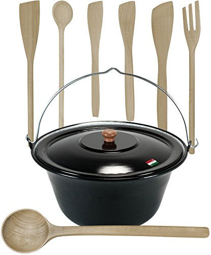 Gulaschkessel mit Deckel 15 Liter und Kochlöffel Set (7-teilig)