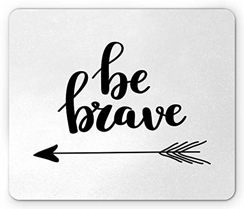 Tribal Words of Wisdom Quote with Primitive Style Boho Ethnic Arrow Figure, Standard Size Rectangle Non-Slip Rubber Mousepad, Black and White ()