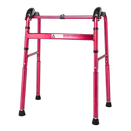 XIHAA Ältere Menschen Walker Höhenverstellbar Klapp Aluminiumlegierung mit Bremsscheibe Behinderte Person Walking Rehabilitation Ausrüstung Bad Bad Stuhl (Zweirad),Red