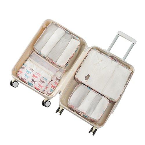 Sentao 6 Stück Gedruckt Kleidertaschen Reisetasche in Koffer Wäschebeutel Schuhbeutel Kosmetik Würfel Reisegepäck Veranstalter