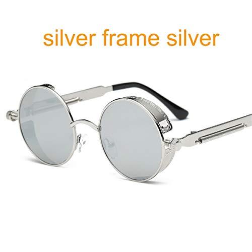 DYFDHA Sonnenbrillen Gothic Steampunk Round Metal Sunglasses For Men Women Mirrored Circle Sun Glasses Brand Designer Retro Vintage Oculos UV400 6631 silver f sliver