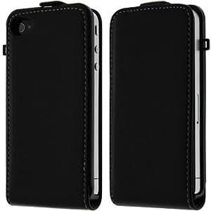 Kobert Leder Flip Case iPhone 4 4S Tasche Hülle Ledertasche iPhone 4S 4 Schutzhülle in Schwarz mit Magnet Verschluss