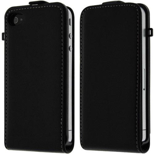 Kobert Goods in pelle Flip Case per iPhone 4/4S/5/5S/5C/6/6+ Custodia in pelle con chiusura magnetica, colore: nero
