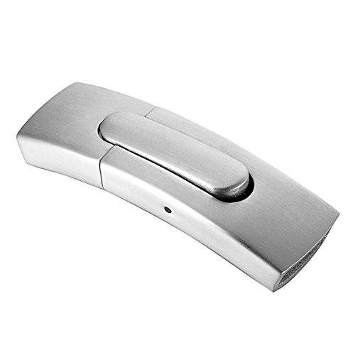 Valyria 1Edelstahl Arc Magnetverschluss Leder Verschluss Armband, edelstahl, silber, Frosted II