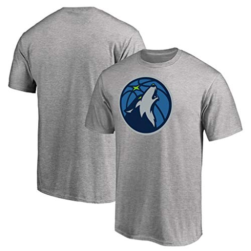 rm-T-Shirts aus Baumwolle Lässige Kleidung Alltägliches Sweatshirt Minnesota Timberwolves Logo-Basketballtrikots mit halben Ärmeln,Gray,L ()