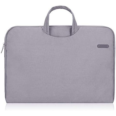 Zikee Funda para portátil 17 pulgadas con asa bolsillo gris Estuche protectora, compatible con Acer/Asus Rog GL752VW/Dell/Lenovo 17 Z70/HP Pavilion &HP Star