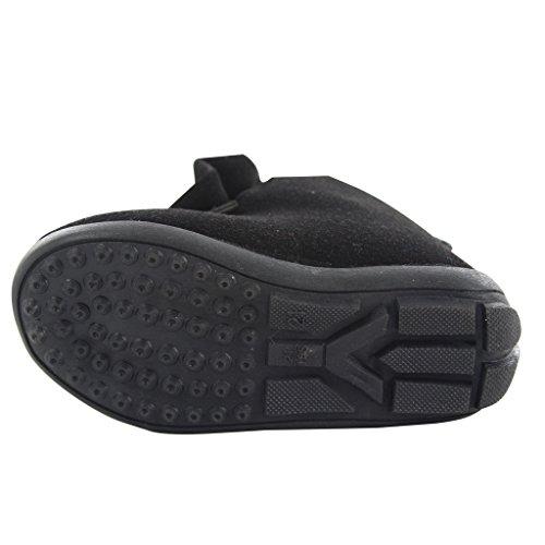 Maxu Girl's hiver imitation Big en chaussures à enfiler Noir - noir