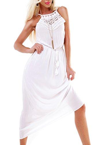 Hippes Maxi-Kleid mit Häkelspitzen-Dekolleté Weiß