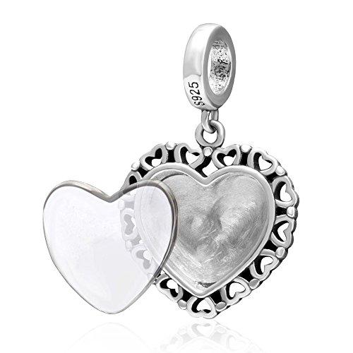 Soulbead personalizzato La Vostra Foto per Autentico Argento Sterling 925Charm stile europeo braccialetto o collana dangle heart - Live Love Laugh Bracciale