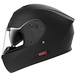 Motorradhelm Integralhelm Rollerhelm Fullface Helm - YEMA YM-831 Sturzhelm ECE mit Doppelvisier Sonnenblende für Damen Herren Erwachsene-Schwarz Matt-XL