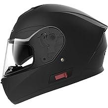 YEMA Casco Moto Integral ECE Homologado YM-831 Casco de Moto Scooter para Mujer Hombre Adultos con Doble Visera -Negro Mate-L