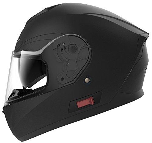 YEMA Casco Moto Integral ECE Homologado YM-831 Casco de Moto Scooter para Mujer Hombre Adultos con Doble Visera -Negro Mate-M