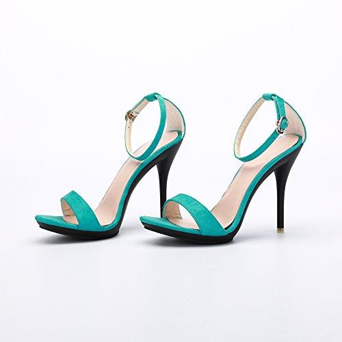 OCHENTA Sandali stiletto estivi con cinturino alla caviglia, chiusura fibbia, per donna Camoscio Peacock