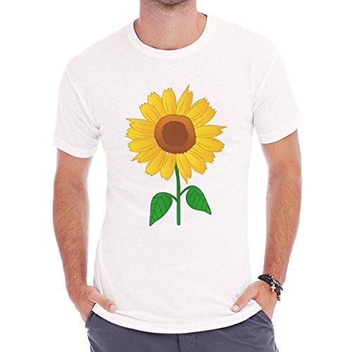 Flowers Nature Blossom Plant Sunflower Simple Cartoon Herren T-Shirt Weiß