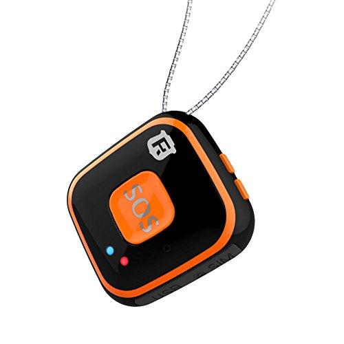 Micro colgante de seguimiento GPS para niños y ancianos con botón de alarma SOS, antena integrada, seguimiento en tiempo real con wifi (RF-V28), 0.33 pounds, color negro