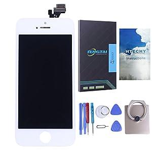 Htechy iPhone 5 5G Display Retina LCD Scheibe Front Glas Touchscreen mit Gitter Digitizer weiß+Für Apple iPhone 5 LCD Display