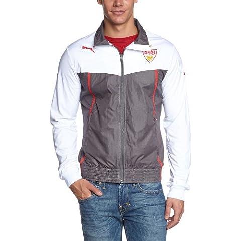 PUMA, Giacca Uomo Vfb Stuttgart Walk Out Jacket, Bianco (white-dark gray heather), XXL